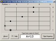 Скачать программа YGS Guitar Chords Help System (303 аккорда) бесплатно